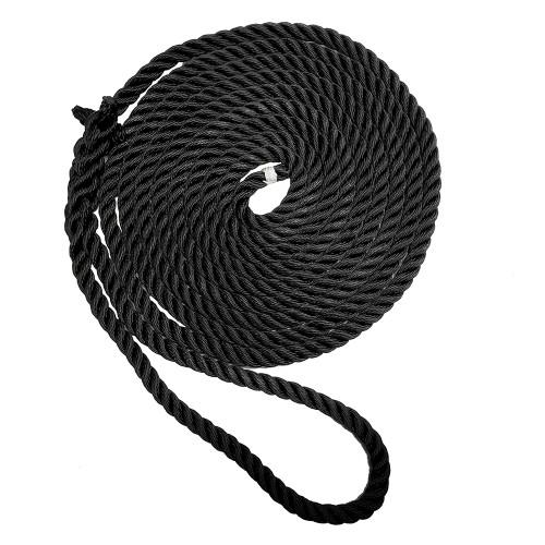 "New England Ropes 3/8"" X 15 Premium Nylon 3 Strand Dock Line - Black"