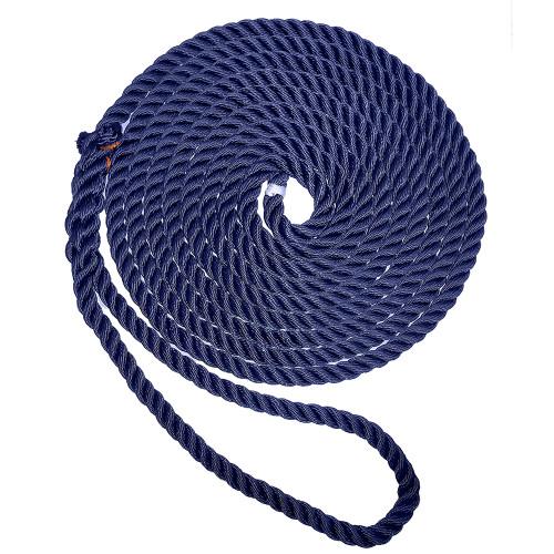 "New England Ropes 1\/2"" X 15 Premium Nylon 3 Strand Dock Line - Navy Blue"