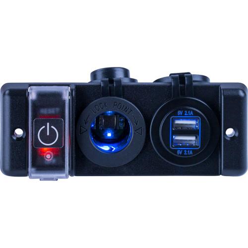 Sea-Dog Double USB  Power Socket Panel w/Breaker Switch