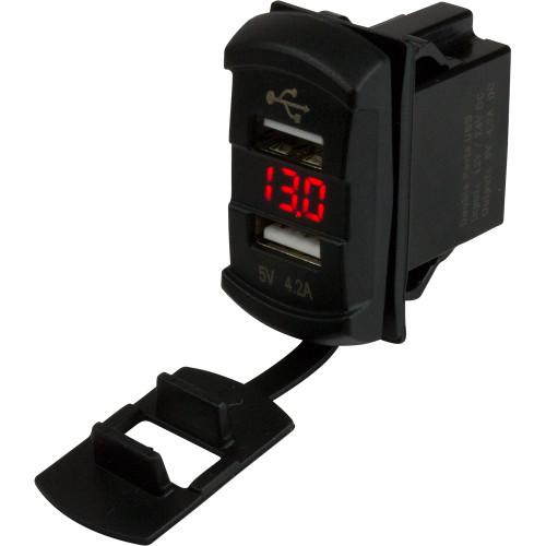 Sea-Dog Dual USB Rocker Switch Style Voltmeter w/Hidden Display
