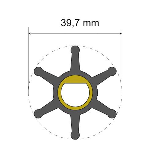 Albin Pump Premium Impeller Kit - 39.7 x 12 x 19.2mm - 6 Blade - Single Flat Insert