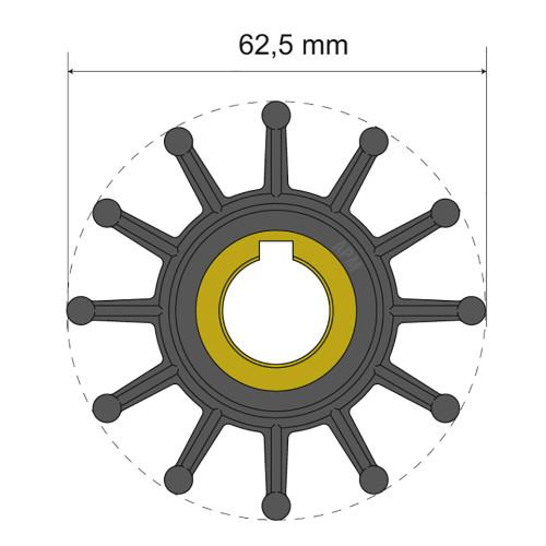 Albin Pump Premium Impeller Kit 62.5 x 16 x 32mm - 12 Blade - Key Insert