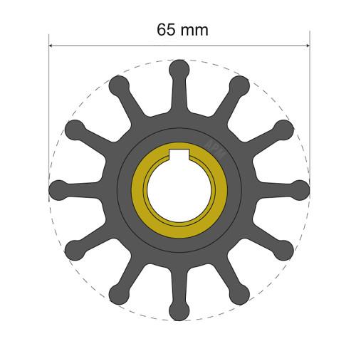 Albin Pump Premium Impeller Kit 65 x 15.8 x 41.5mm - 12 Blade - Key Insert