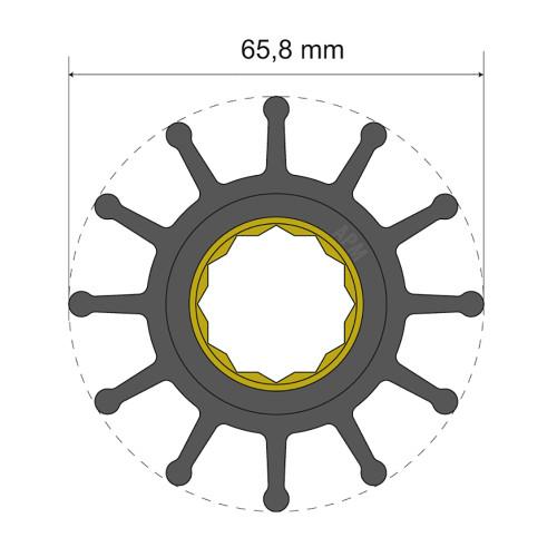 Albin Pump Premium Impeller Kit 65.8 x 25 x 80mm - 12 Blade - Spline Insert