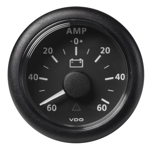 "VDO Marine 2-1/16"" (52MM) ViewLine Battery Status Gauge -60/+60AMP - 8 to 32V - Black Dial  Bezel"