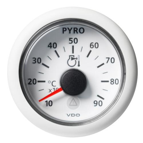 "VDO Marine 2-1/16"" (52MM) ViewLine Pyrometer - 900C/1650F - 8 to 32V - White Dial  Bezel"