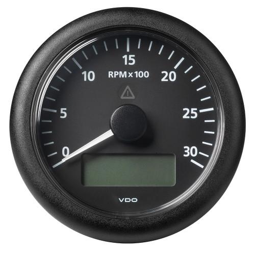 "VDO Marine 3-3/8"" (85MM) ViewLine Tachometer w/Multi-Function Display - 0 to 3000 RPM - Black Dial  Bezel"