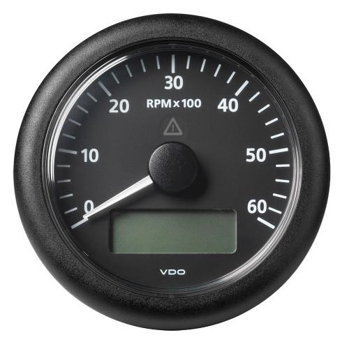 "VDO Marine 3-3/8"" (85MM) ViewLine Tachometer w/Multi-Function Display - 0 to 6000 RPM - Black Dial  Bezel"