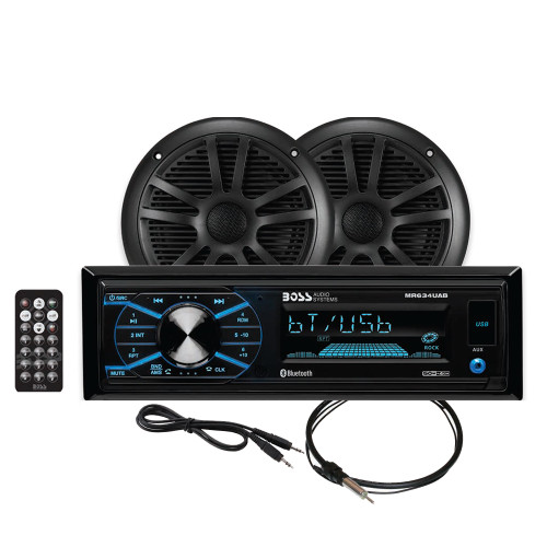 Boss Audio MCBK634B.6 Package w/MR634UAB, 2-MR6B Speakers  MRANT10 Antenna - Black