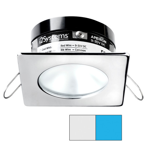 i2Systems Apeiron A503 3W Spring Mount Light - Square/Round - Cool White  Blue - Polished Chrome Finish