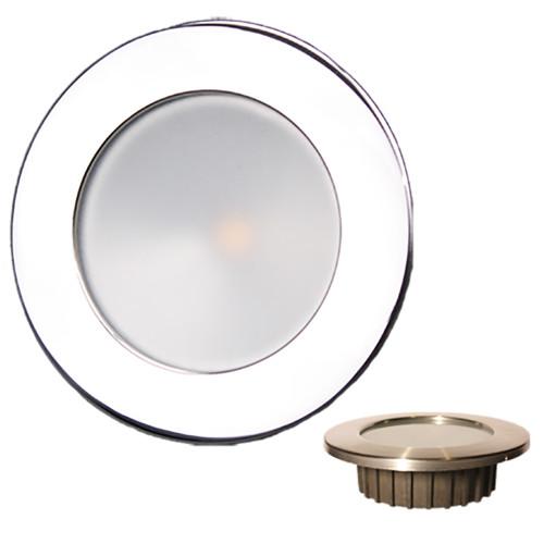 Lunasea ZERO EMI Recessed 3.5 LED Light - Warm White, Blue w/Polished Stainless Steel Bezel - 12VDC