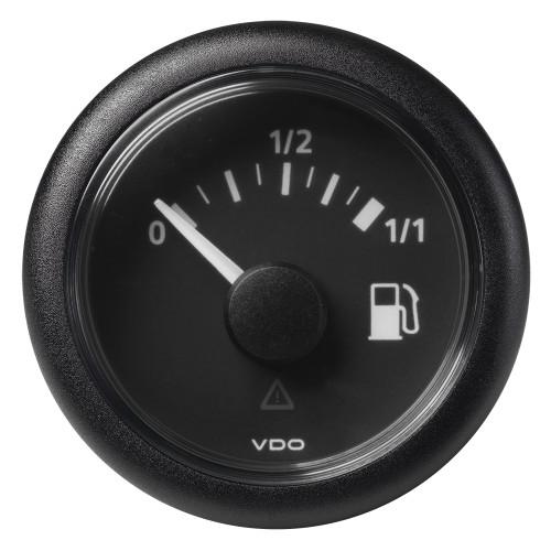 "VDO Marine 52mm (2-1/16"") ViewLine Fuel Tank Level Gauge 0-1/1 - 8/32V - 90-4 OHM - Black Dial  Round Bezel"