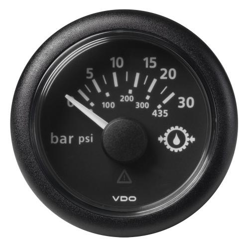 "VDO Marine 2-1/16"" (52mm) ViewLine Transmission Oil Pressure 30 Bar/435 PSI - 8-32V - Black Dial  Round Bezel"