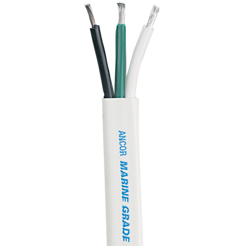 Ancor White Triplex Cable - 16/3 AWG - Flat - 500'