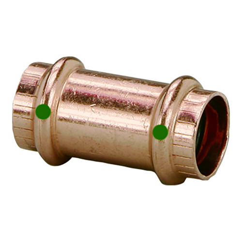 """Viega ProPress 2"""" Copper Coupling w/o Stop - Double Press Connection - Smart Connect Technology"""