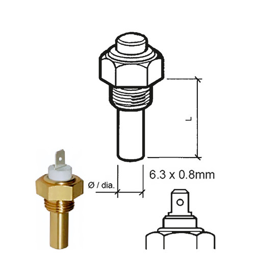 "VDO Marine Coolant Temperature Sensor - Single Pole Spade - 40-120C/105-250F - 6-24V - 3/8""-18NPTF Thread"