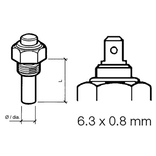 VDO Marine Engine Oil Temperature Sensor - Single Pole, Common Ground - 50-150C/120-300F - 6/24V - M14 x 1.5 Thread