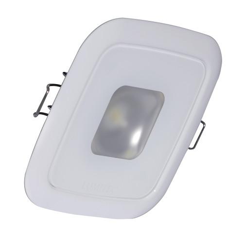 Lumitec Square Mirage Down Light - Warm White Dimming, Hi CRI - White Bezel