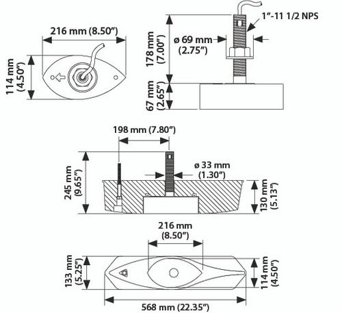 Airmar B265c-lm Bronze Th Low Medium Chirp Mix-n-match Transducer