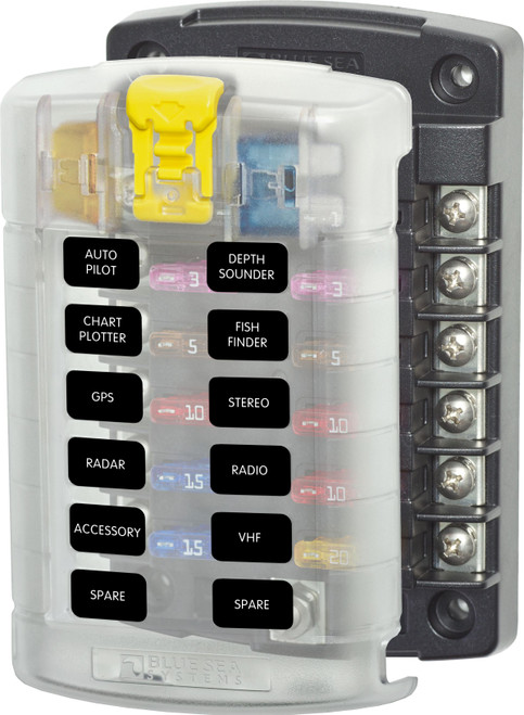 Blue Sea 5029 12-gang Fuse Block St Ato/atc With Cover