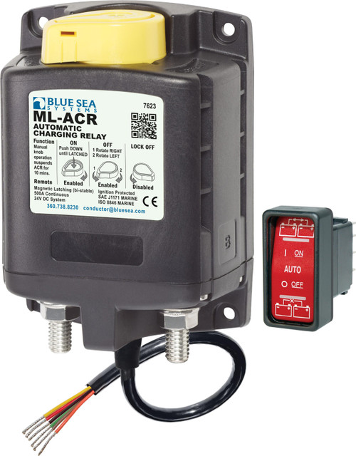 Blue Sea Ml-acr Automatic Charging Relay With Manual Control 24vdc 500a