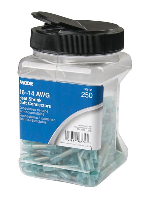 Ancor 16-14 Butt Connector Heat Shrink Blue 250 Pack Jar