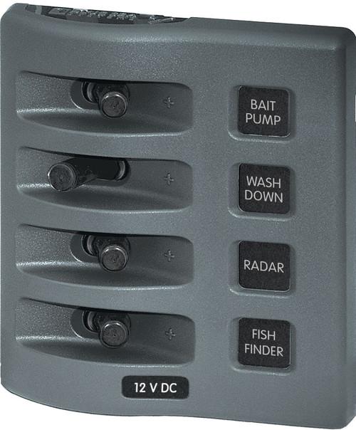 Blue Sea Weather Deck Panel 12v 4 Gang Switch Panel
