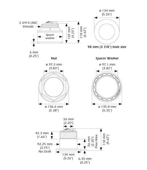 Airmar B175c-12-l Thru Hull 12 Deg Tilt Low Chirp Mix-n-match Transducer
