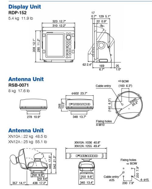 """Furuno 1935 4kw 41"""""""" Open Arra No Cable"""