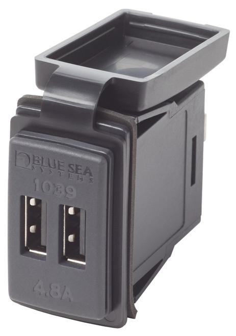 Blue Sea Dual Usb 4.8a Charger Port 12/24vdc Switch Mount