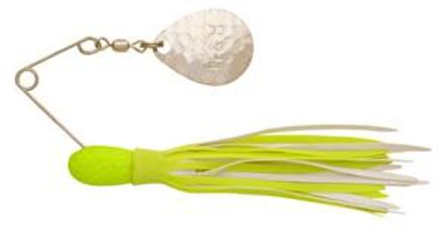 H&H Single Spinner 3/8 (6cd) Chartreuse/White