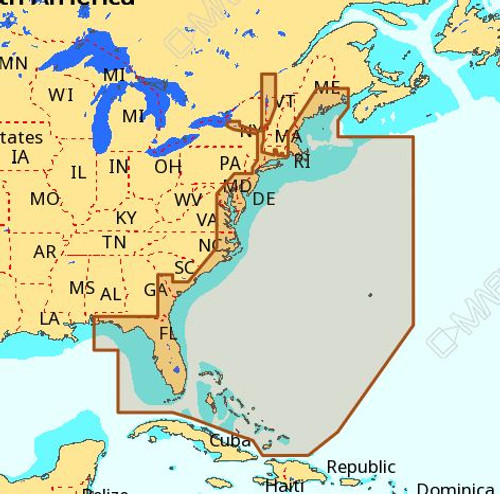 C-map Na-m022 Max Wide C Card East Coast And Bahamas