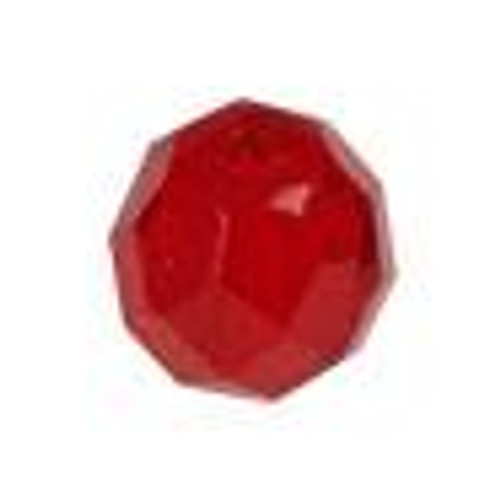 Top Brass Glass Beads 8mm 20ct Red