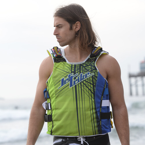UR-20 Spike Vest | Blue / Green | Comfort EVA Foam | PWC Jetski Ride & Race Gear