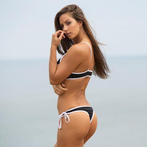 Havasu Thong Bikini 2pc Set - Black/White PWC Jetski Swimwear