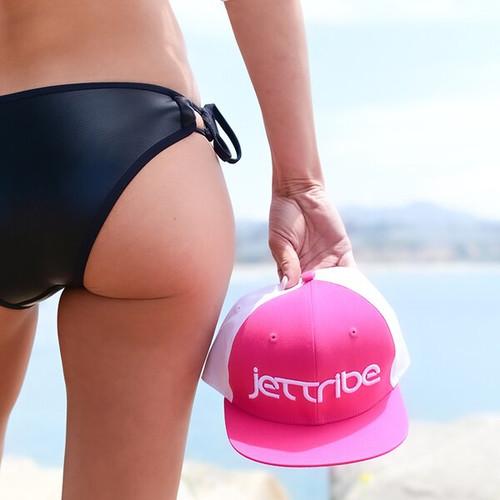 Ladies Bright Neon Pink Flat Brim Hat PWC Jetski Ride & Race Accessories