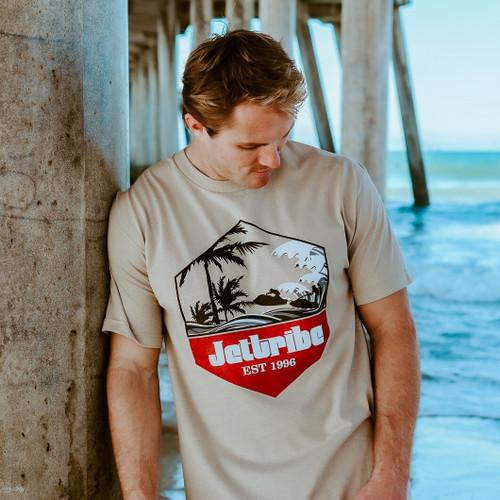 Tropic T-Shirt - Tan PWC Jetski Ride & Race Apparel