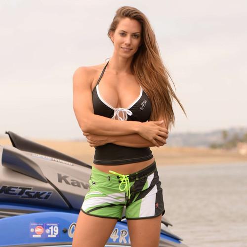Sharpened Green Ladies Shorts - PWC Jetski Ride & Race Apparel