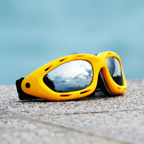 Classic Yellow Frame/ Smoke Lens Goggles PWC Jetski Ride & Race