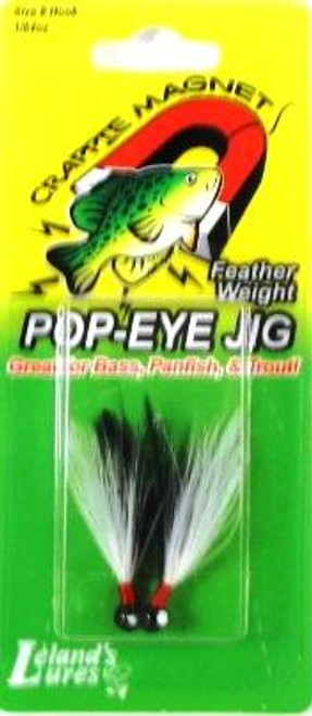Leland Pop Eye Jig 1/16 2ct Black/White-Black