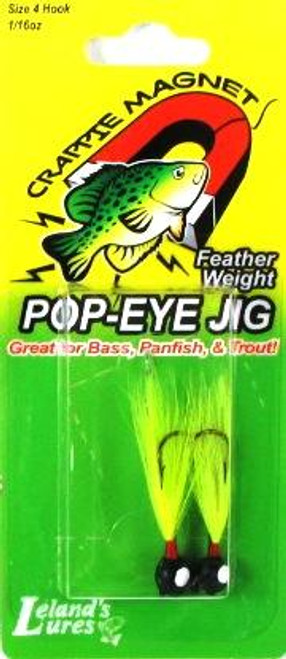 Leland Pop Eye Jig 1/64 2ct Black/Chartreuse