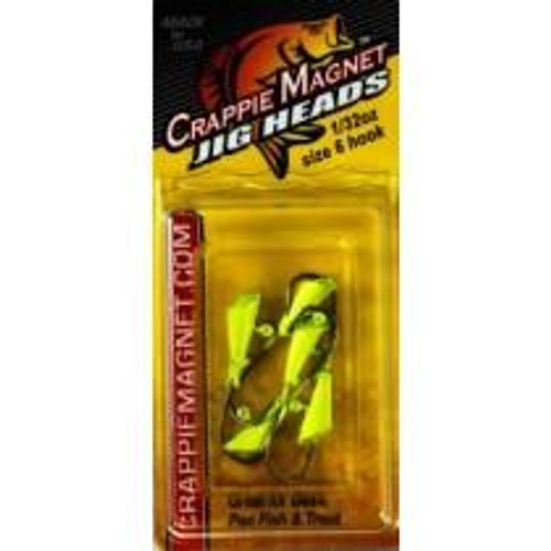Leland Crappie Magnet Replacement Heads 5ct 1/32oz Chartreuse