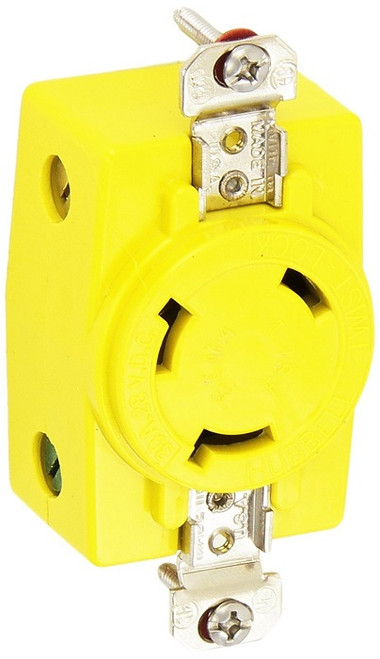 Hubbell Hbl328dcr 30a 28v Dc Locking Receptacle Yellow
