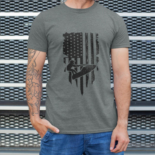 Stand-Up Flag Men's T-Shirt | Dark Grey | PWC Jetski Ride & Race Apparel