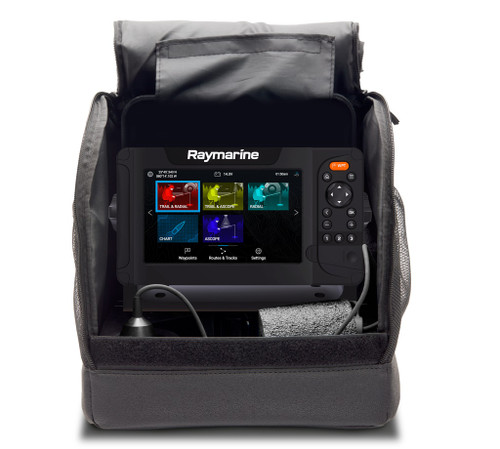 Raymarine Element Ice Fishing Bag, Battery, Charger, Mount Transducer And Float