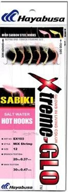 Hayabusa Sabiki Rig Mix Shrimp Glow 6-Hook Size 1