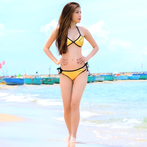 Neo Triangle Bikini 2pc Set | Gold Neoprene | PWC Jetski Swimwear