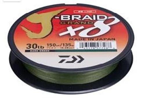 Daiwa J-Braid Grand 8X 150yd 65lb Dark Green