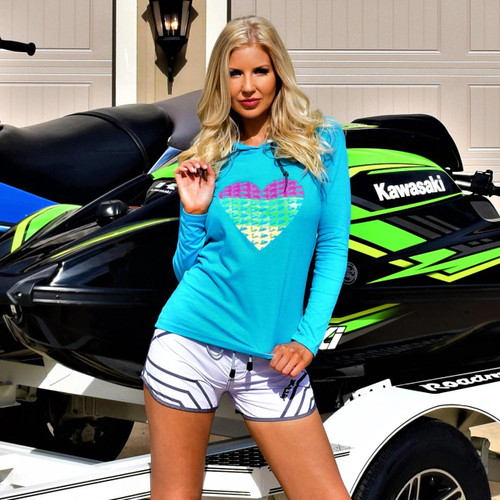 I Heart PWC Hooded Longsleeve Tee | Turquoise | Ladies Jet Ski Riding Apparel