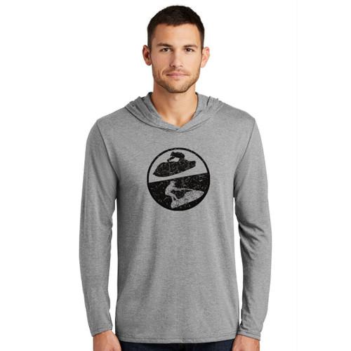 Distressed Hooded Longsleeve Tee | Grey | Unisex Design | Jet Ski Riding Apparel